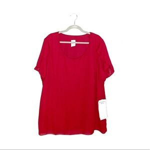 Roaman's Red Short Split Sleeve Blouse 24W